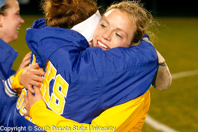 Kellyn Farrell, who had the lone goal to win the game, and Alex Schaller of South Dakota State show their excitement by sharing a hug after winning their first round 2008 Division 1 Soccer Championship game at Elizabeth Lyle Robbis Stadium on the campus of the University of Minnesota in St. Paul, MN. (Photo By Ty Carlson/Inertia)