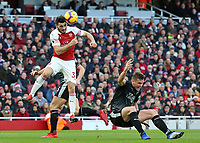 Arsenal's Sead Kolasinac heads clear<br /> <br /> Photographer David Shipman/CameraSport<br /> <br /> The Premier League - Arsenal v Burnley - Saturday 22nd December 2018 - The Emirates - London<br /> <br /> World Copyright © 2018 CameraSport. All rights reserved. 43 Linden Ave. Countesthorpe. Leicester. England. LE8 5PG - Tel: +44 (0) 116 277 4147 - admin@camerasport.com - www.camerasport.com