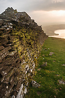 Old drystone wall on Mynydd Llangorse, Brecon Beacons national park, Wales