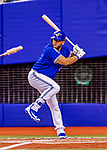 26 March 2018: Toronto Blue Jays designated hitter Kendrys Morales at bat during an exhibition game against the St. Louis Cardinals at Olympic Stadium in Montreal, Quebec, Canada. The Cardinals defeated the Blue Jays 5-3 in the first of two MLB pre-season games in the former home of the Montreal Expos. Mandatory Credit: Ed Wolfstein Photo *** RAW (NEF) Image File Available ***