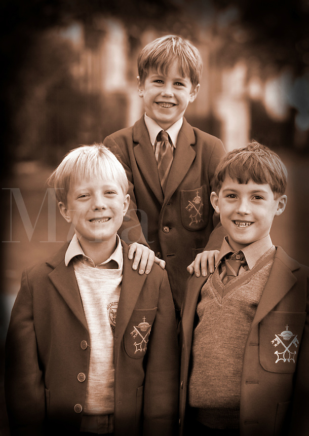 Traditional dress on young English boys in school age 6 York , England