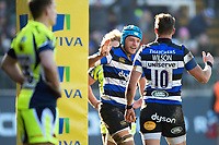 Zach Mercer of Bath Rugby celebrates his first half try with team-mates. Aviva Premiership match, between Bath Rugby and Sale Sharks on February 24, 2018 at the Recreation Ground in Bath, England. Photo by: Patrick Khachfe / Onside Images