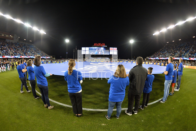 San Jose, CA - Wednesday September 19, 2018: Center Circle prior to a Major League Soccer (MLS) match between the San Jose Earthquakes and Atlanta United FC at Avaya Stadium.
