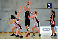 Action from the 2019 Schick AA National Girls' Secondary Schools Basketball Championships 7th place playoff between Christchurch Girls' College and Manukura at the Central Energy Trust Arena in Palmerston North, New Zealand on Saturday, 5 October 2019. Photo: Dave Lintott / lintottphoto.co.nz