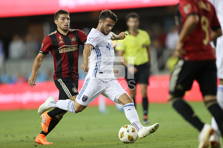 San Jose, CA - Wednesday September 19, 2018: Vako during a Major League Soccer (MLS) match between the San Jose Earthquakes and Atlanta United FC at Avaya Stadium.