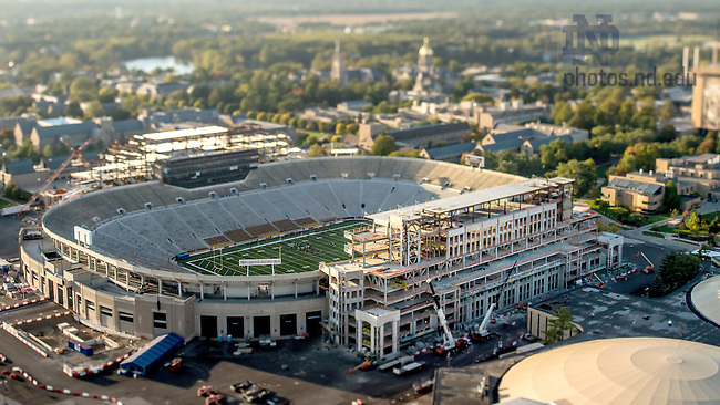 Oct. 7, 2015; Campus Crossroads construction, tilt-shift. (Photo by Matt Cashore/University of Notre Dame)