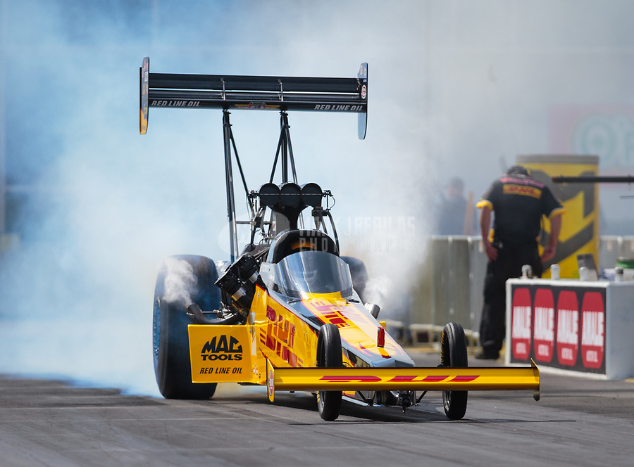 Mar 15, 2019; Gainesville, FL, USA; NHRA top fuel driver Richie Crampton during qualifying for the Gatornationals at Gainesville Raceway. Mandatory Credit: Mark J. Rebilas-USA TODAY Sports