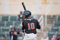 Ti'Quan Forbes (10) of the Hickory Crawdads at bat against the Kannapolis Intimidators in game two of a double-header at Kannapolis Intimidators Stadium on May 19, 2017 in Kannapolis, North Carolina.  The Intimidators defeated the Crawdads 9-1.  (Brian Westerholt/Four Seam Images)
