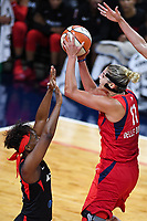 Washington, DC - Sept 17, 2019: Washington Mystics forward Elena Delle Donne (11) rises above Las Vegas Aces defenders to shoot the ball during WNBA Playoff semi final game between Las Vegas Aces and Washington Mystics at the Entertainment & Sports Arena in Washington, DC. The Mystics hold on to beat the Aces 97-95. (Photo by Phil Peters/Media Images International)