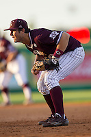 Texas A&M Aggies first baseman Hunter Melton (50) on defense during the Southeastern Conference baseball game against the LSU Tigers on April 25, 2015 at Alex Box Stadium in Baton Rouge, Louisiana. Texas A&M defeated LSU 6-2. (Andrew Woolley/Four Seam Images)