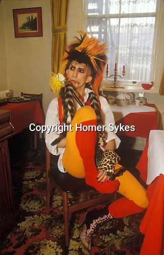 Martin Degville on tour Sigue Sigue Sputnik. Punk band 1980s  Bed and Breakfast hotel Newcastle Upon Tyne. UK