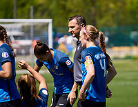 Kansas City, MO - Saturday May 13, 2017: Becky Sauerbrunn,  Vlatko Andonovski during a regular season National Women's Soccer League (NWSL) match between FC Kansas City and the Portland Thorns FC at Children's Mercy Victory Field.