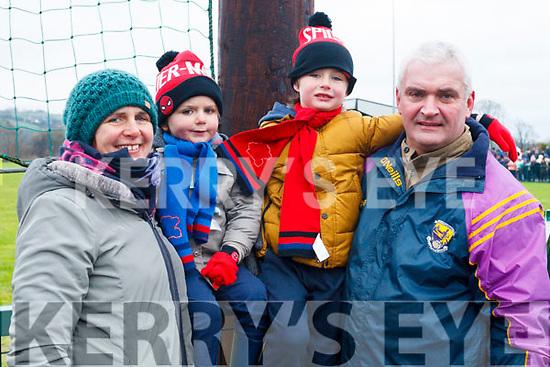 Garvey family from Ballydonohue, enjoying the NK football final on Sunday last, l-r Mairead, Fionn, Oisin and Colm Garvey.