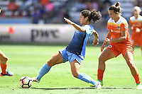 Houston, TX - Saturday May 13, 2017: Sky Blue FC midfielder Raquel Rodriguez (11), Houston Dash midfielder Amber Brooks (12) during a regular season National Women's Soccer League (NWSL) match between the Houston Dash and Sky Blue FC at BBVA Compass Stadium. Sky Blue won the game 3-1.