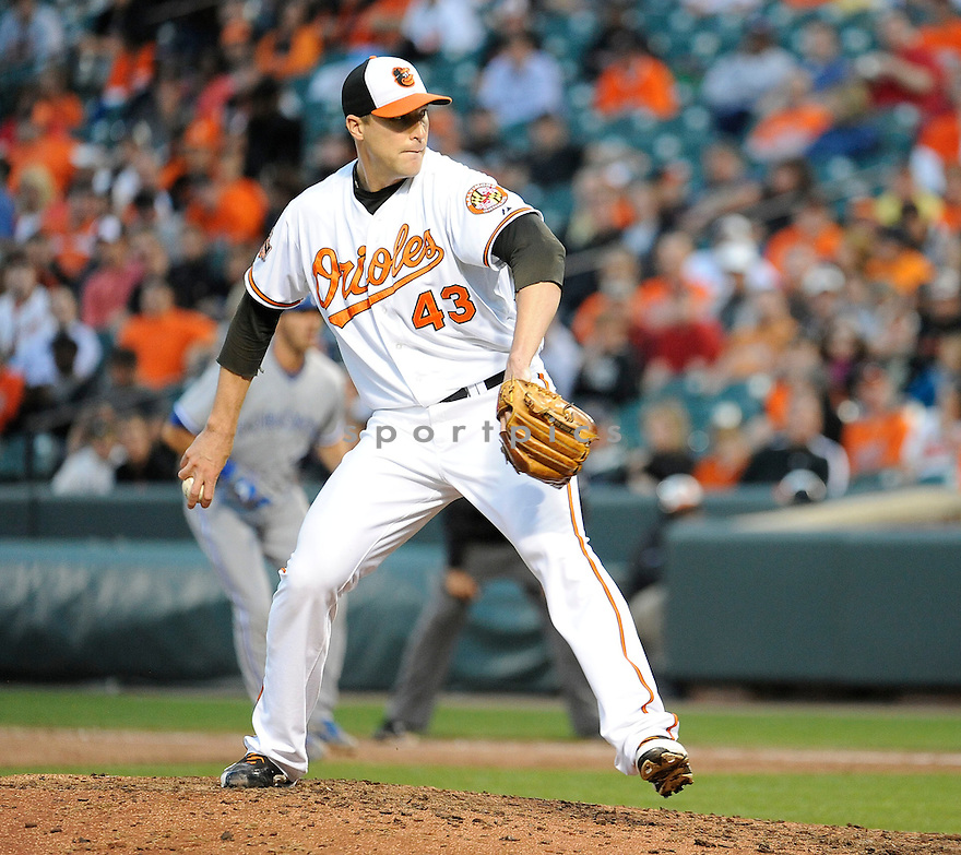 Baltimore Orioles Jim Johnson (43) in action during game 1 of a double header against the Toronto Blue Jays on September 24, 2012 at Orioles Park at Camden Yards in Baltimore, MD. The Orioles beat the Blue Jays 4-1.