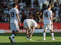 FUSSBALL   1. BUNDESLIGA  SAISON 2011/2012   8. Spieltag   01.10.2011 SC Freiburg - Borussia Moenchengladbach         Enttaeuschung Gladbach; Juan Arango, Oscar Wendt und Havard Nordtveit  (v.li.)