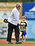 24 July 2010: Former Red Sox and Yankees pitcher Luis Tiant makes an appearance prior to a Vermont Lake Monsters game versus the Lowell Spinners at Centennial Field in Burlington, Vermont. The Spinners defeated the Lake Monsters 11-5 in NY Penn League action. Mandatory Credit: Ed Wolfstein Photo