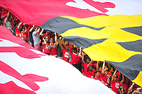 Maryland Pride flag is unfurled at student section. Maryland routed Howard 52-13 during home season opener at Capital One Field in College Park, MD on Saturday, September 3, 2016.  Alan P. Santos/DC Sports Box