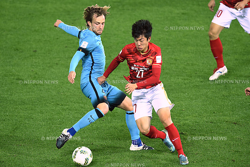 (L-R) Ivan Rakitic (Barcelona), Zheng Long (Evergrande), <br /> DECEMBER 17, 2015 - Football / Soccer : <br /> FIFA Club World Cup Japan 2015 semi-fina match <br /> between FC Barcelona 3-0 Guangzhou Evergrande <br /> at Yokohama International Stadium, Kanagawa, Japan. <br /> (Photo by AFLO SPORT)