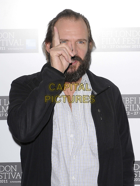 "Brian Cox & Ralph Fiennes.The ""Coriolanus"" press conference & photocall, London Film Festival Day 5, Vue West End cinema, Leicester Square, London, England..October 16th, 2011.LFF half length hand finger black jacket beard facial hair.CAP/CAN.©Can Nguyen/Capital Pictures."