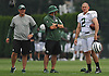 Nick Folk #2, New York Jets kicker, right, watches practice during team training camp at Atlantic Health Jets Training Center in Florham Park, NJ on Saturday, July 30, 2016.