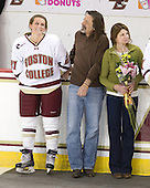 Laura Hart (BC - 27), Brett Hart, Julie Hart - The Boston College Eagles and the visiting University of New Hampshire Wildcats played to a scoreless tie in BC's senior game on Saturday, February 19, 2011, at Conte Forum in Chestnut Hill, Massachusetts.