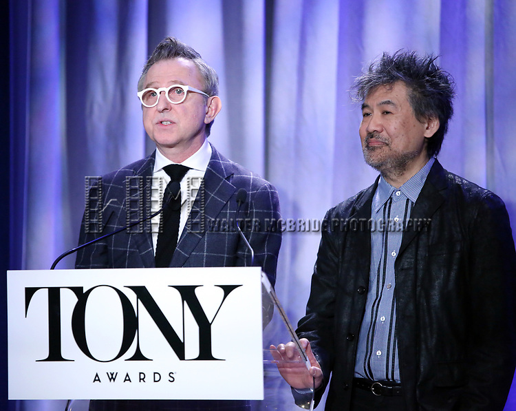 Thomas Schumacher and David Henry Hwang attend the 2018 Tony Awards Nominations Announcement at The New York Public Library for the Performing Arts on May 1, 2018 in New York City.