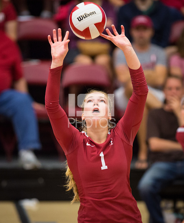 STANFORD, CA - September 9, 2018: Jenna Gray at Maples Pavilion. The Stanford Cardinal defeated #1 ranked Minnesota 3-1 in the Big Ten / PAC-12 Challenge.