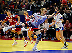 BELGRADE, SERBIA - DECEMBER 16:  Sanja Rajovic (C) of Serbia an action during the Women's European Handball Championship 2012 third place match between Hungary and Serbia at Arena Hall on December 16, 2012 in Belgrade, Serbia. (Photo by Srdjan Stevanovic/Getty Images)