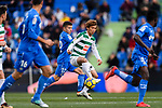 Takashi Inui of SD Eibar (C) in action against Portillo Soler of Getafe CF (L) during the La Liga 2017-18 match between Getafe CF and SD Eibar at Coliseum Alfonso Perez Stadium on 09 December 2017 in Getafe, Spain. Photo by Diego Souto / Power Sport Images
