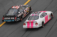 Feb 10, 2007; Daytona, FL, USA; ARCA RE/MAX Series driver Bobby Gerhart (5) passes Erin Crocker (98) during the ARCA 200 at Daytona International Speedway. Mandatory Credit: Mark J. Rebilas