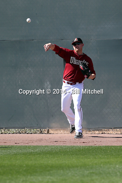Mark Trumbo of the Arizona Diamondbacks participates in spring training workouts at Salt River Fields on February 12, 2014 in Scottsdale, Arizona (Bill Mitchell)