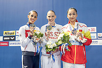 (L to R) CARBONELL Ona ESP Silver medal; ROMASHINA Svetlana RUS Gold; SUN Wenyan CHN Bronze<br /> Podium medlas<br /> Kazan Arena Synchro Sincro Solo Technical Final<br /> Day02 25/07/2015<br /> XVI FINA World Championships Aquatics Swimming<br /> Kazan Tatarstan RUS July 24 - Aug. 9 2015 <br /> Photo G.Scala/Deepbluemedia/Insidefoto