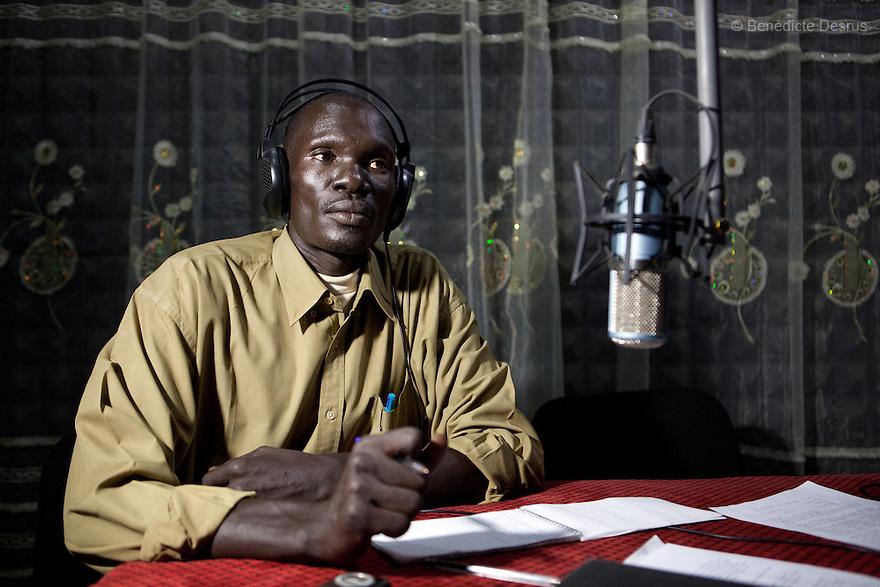 January 13, 2011 - Juba, South Sudan - South Sudanese journalists talk during a radio program at Bakhita FM radio station, a community-based radio station run by the Catholic Church in Juba. Photo credit: Benedicte Desrus