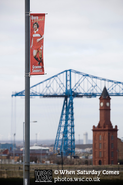Middlesbrough 1 Preston North End 1, 22/01/2011. Riverside Stadium, Championship. A banner celebrating former player Graeme Souness on a lamppost outside Middlesbrough FC's Riverside Stadium with the town's historicTransporter Bridge in the background on the day the club played host to Preston North End in an Npower Championship fixture. The match ended in a one-all draw watched by a crowd of 16,157. Middlesbrough relocated from their former home at Ayresome Park in 1995. Photo by Colin McPherson.