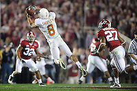 Jan 7, 2010; Pasadena, CA, USA; Texas Longhorns wide receiver Jordan Shipley (8) is unable to catch a pass as Alabama Crimson Tide defensive back Justin Woodall (27) looks on during the third quarter of the 2010 BCS national championship game at the Rose Bowl.  Mandatory Credit: Mark J. Rebilas-