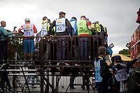 a filled press stage in front of the famous Champs Elysées finishing podium<br /> <br /> stage 21: Sèvres - Champs Elysées (109km)<br /> 2015 Tour de France