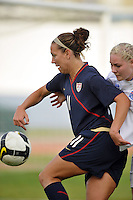 US forward Lauren Cheney corrals the ball vs Iceland in a 2010 Algarve Cup game in Vila Real Sto. Antonio, Portugal.