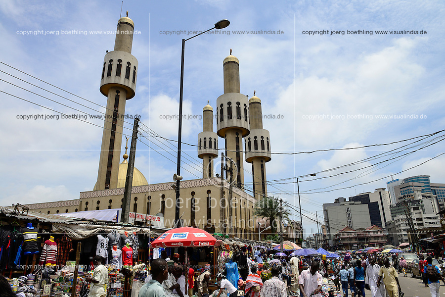 NIGERIA, City Lagos, central mosque and market street