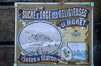 Europe/France/Ile-de-France/77/Seine-et-Marne/Moret-sur-Loing: Enseigne pour les sucres d'orge des religieuses de Moret
