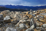 Boulders strewn along the road to Mount Evans on an overcast day above the tree line in the rocky mountains, Colorado, USA