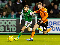 28th January 2020; Easter Road, Edinburgh, Scotland; Scottish Cup replay, Football, Hibernian versus Dundee United; Martin Boyle of Hibernian goes round Jamie Robson of Dundee United as they compete for the ball