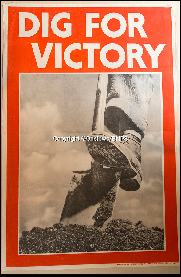 BNPS.co.uk (01202 558833)<br /> Pic: Onslows/BNPS<br /> <br /> The famous poster is now worth over £500 on its own.<br /> <br /> Home Front pamphlets bring back to life the fascinating spade work behind wartime Britain's Dig For Victory campaign.<br /> <br /> The fascinating set of posters, pamphlets and documents issued by the Ministery of Agriculture during the famous 'Dig For Victory' campaign have been unearthed.<br /> <br /> The set of more than 30 documents includes posters which were distributed by the Ministry of Agriculture and Fisheries to parishes across the land to encourage the British public to produce their own food and free up shipping for war materials.<br /> <br /> They were discovered in the store room of an old agricultural research organisation in Llanishen, just north of Cardiff, by a scientist in 1975 who has kept them in a box in his study since then.<br /> <br /> Now, the vendor, who wishes to remain anonymous, has put the documents on the market and they are tipped to sell for £2,000.