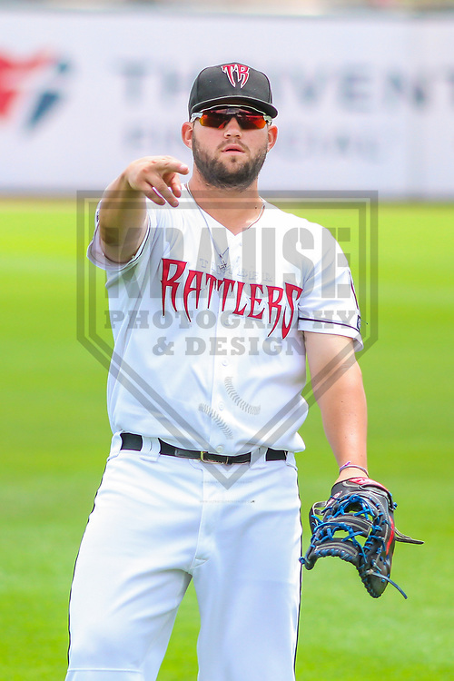 Wisconsin Timber Rattlers first baseman Ronnie Gideon (25) warms up prior to a Midwest League game against the Burlington Bees on July 10, 2017 at Fox Cities Stadium in Appleton, Wisconsin.  Burlington defeated Wisconsin 6-3. (Brad Krause/Krause Sports Photography)