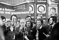 November 15 1976 File photo - Montreal , Quebec,  CANADA - Candidates of the Parti Quebecois celebrate the 1976 victory with the party leader Rene Levesque , November 15 1976 at Centre Paul Sauve. -  Lise Payette, Claude Charron, Gilbert Paquette