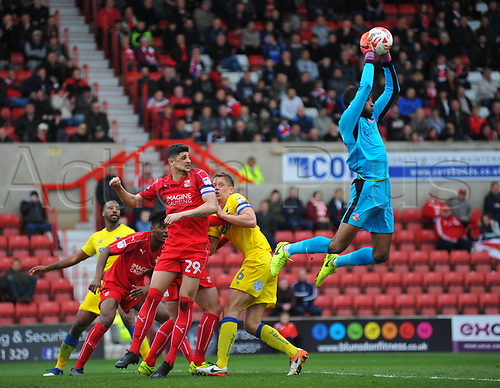 April 14th 2017, County Ground, Swindon, Wiltshire; Skybet league 1 football, Swindon Town versus AFC Wimbledon; Lawrence Vigouroux, goalkeeper for Swindon Town jumps high to catch a cross