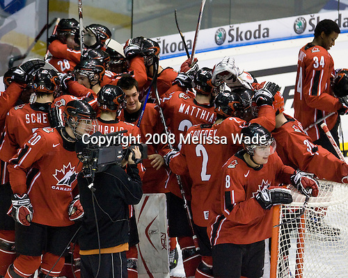 Canada celebrates their win. Team Canada defeated Team USA 4-1 on Friday, January 4, 2008, during the World Junior Championship at CEZ Arena in Pardubice, Czech Republic.  The result put Team Canada into the gold medal game and Team USA into the bronze medal game.