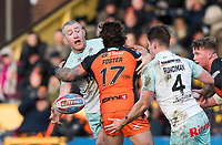 Picture by Allan McKenzie/SWpix.com - 11/02/2018 - Rugby League - Betfred Super League - Castleford Tigers v Widnes Vikings - the Mend A Hose Jungle, Castleford, England - Chris Houston offloads.