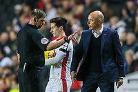 Referee Brett Huxtable remonstrates with nFleetwood Town's manager Uwe Rosler<br /> <br /> Photographer Andrew Kearns/CameraSport<br /> <br /> The EFL Sky Bet League One - Milton Keynes Dons v Fleetwood Town - Saturday 11th November 2017 - Stadium MK - Milton Keynes<br /> <br /> World Copyright &copy; 2017 CameraSport. All rights reserved. 43 Linden Ave. Countesthorpe. Leicester. England. LE8 5PG - Tel: +44 (0) 116 277 4147 - admin@camerasport.com - www.camerasport.com