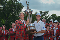 Justin Rose (GBR) is presented the trophy for winning the Fort Worth Invitational, The Colonial, at Fort Worth, Texas, USA. 5/27/2018.<br /> Picture: Golffile | Ken Murray<br /> <br /> All photo usage must carry mandatory copyright credit (© Golffile | Ken Murray)